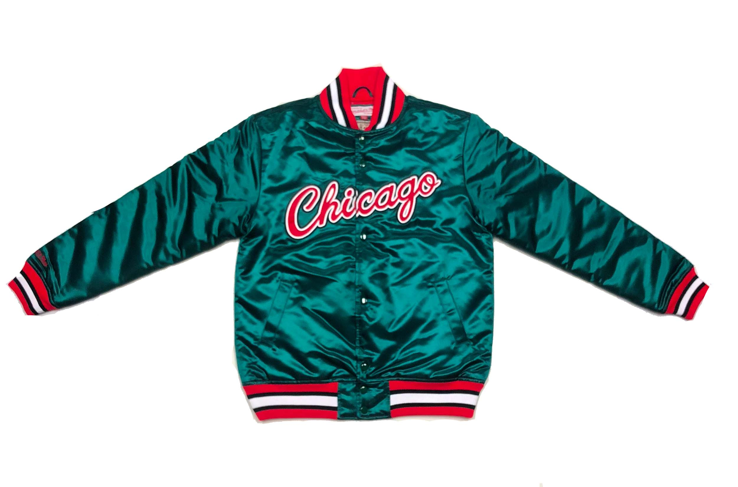 more photos 131c3 25691 Mitchell & Ness Chicago Bulls Green Satin Jacket