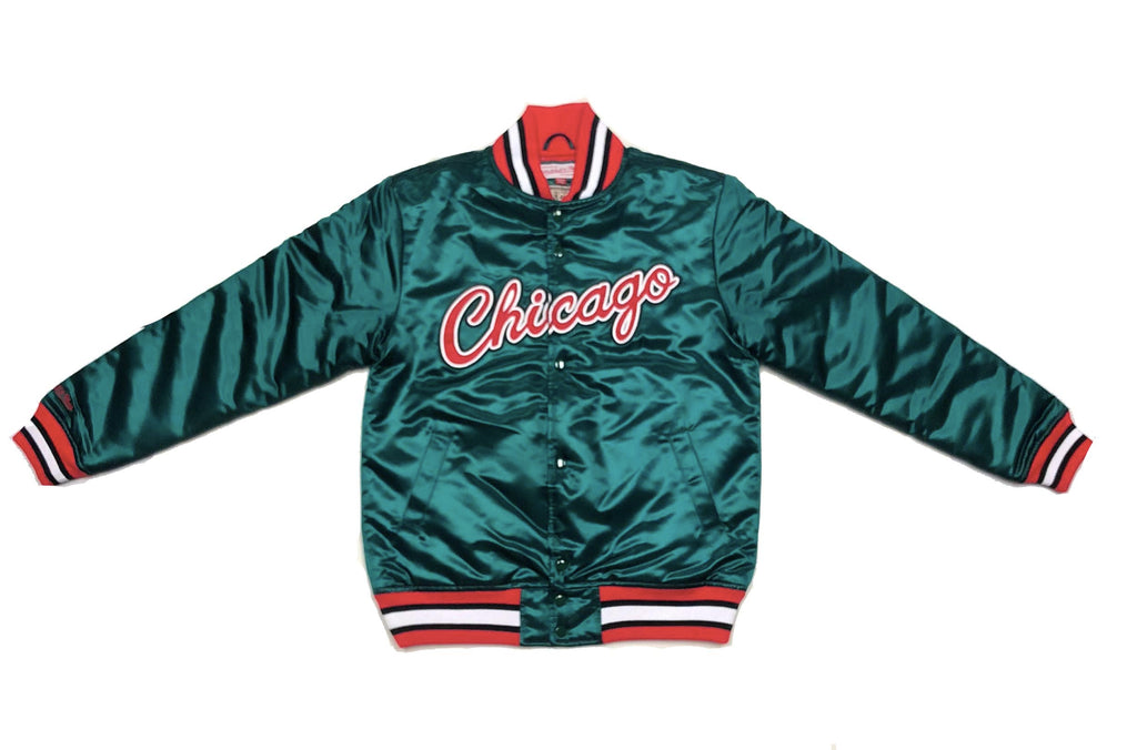 Mitchell & Ness Chicago Bulls Green Satin Jacket