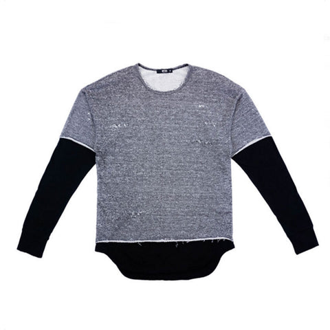 L/S French Terry Faux Later Long Tee Charcoal Black