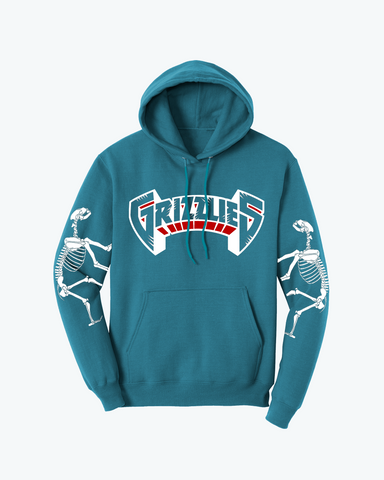 """GRIZZLIES"" Osteology Pullover Hoodie in Teal"