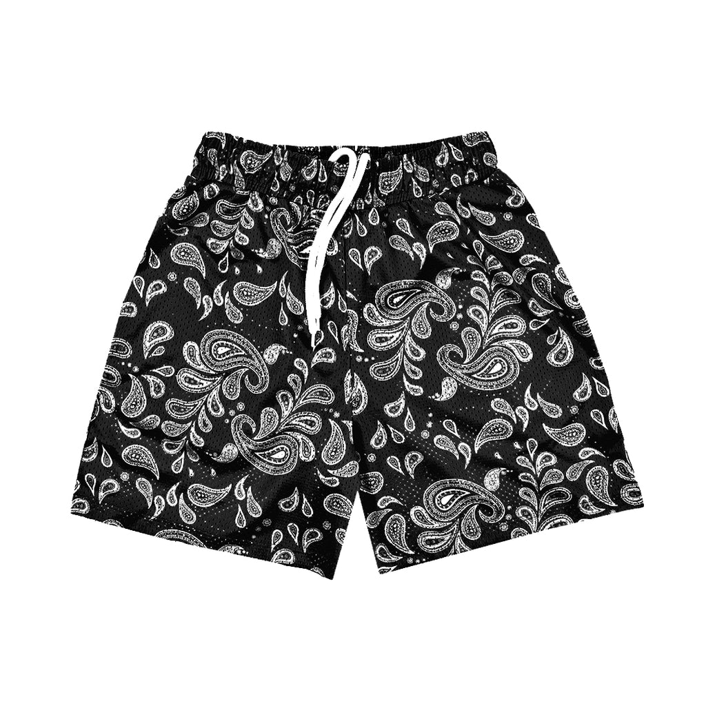 """PAISLEY"" Mesh Shorts // Black and White"