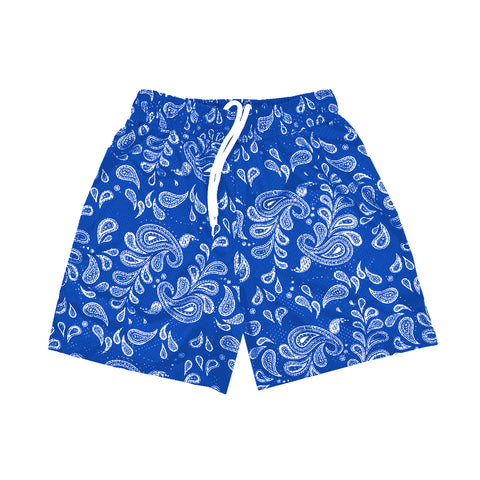 """PAISLEY"" Mesh Shorts // Royal Blue and White"