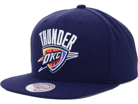 Mitchell & Ness NBA Oklahoma City Thunder Basic Logo Snapback Hat in Navy
