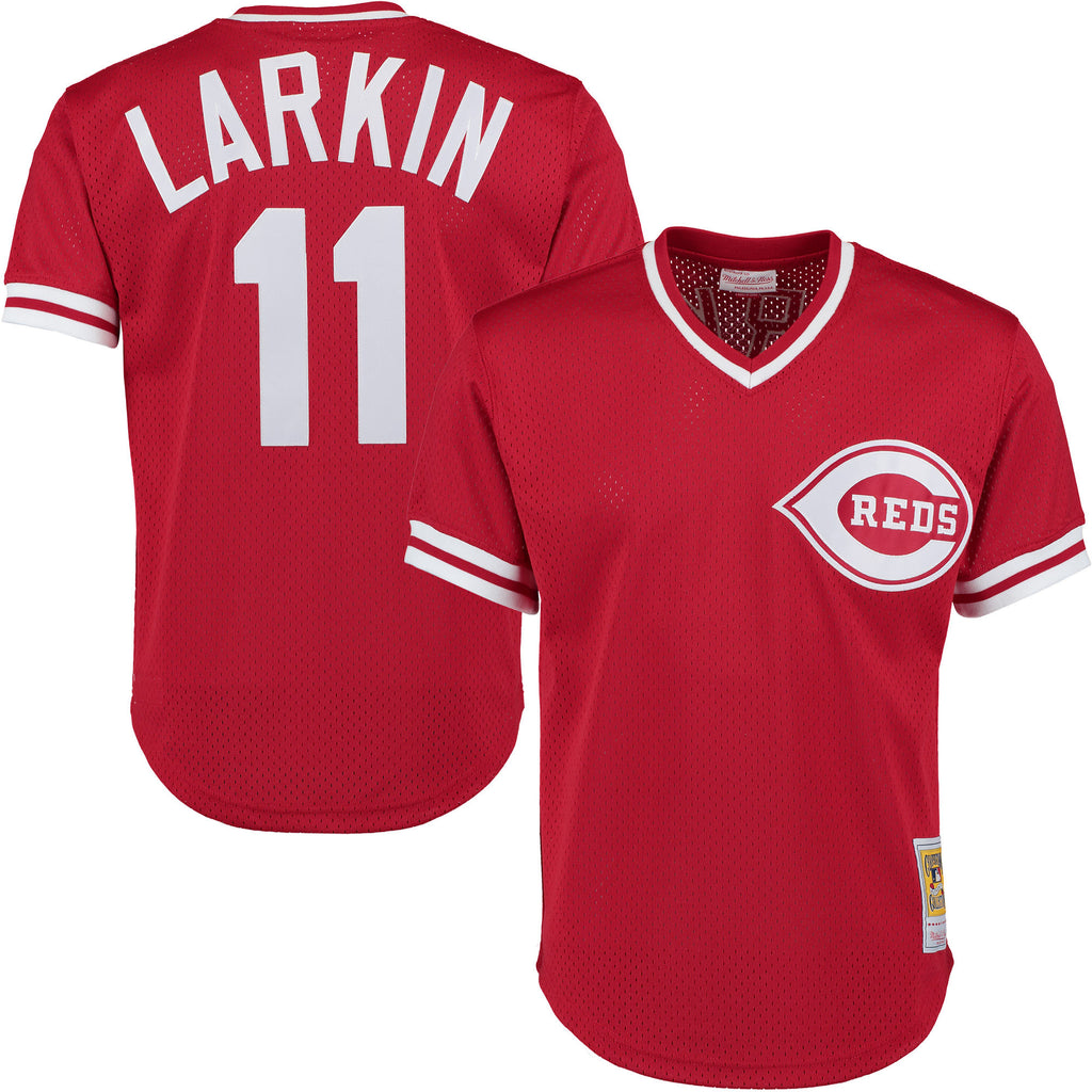 Barry Larkin Red Cincinnati Reds Authentic Mesh Batting Practice Jersey