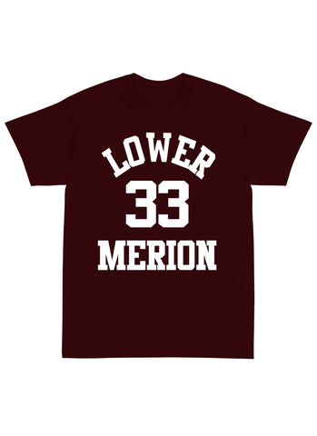 "Lower Merion High School ""BRYANT"" Name & Number Tee Shirt in Maroon"