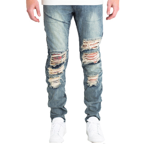 Embellish NYC Mackenzie Ripped Denim (Light Blue) In Light Blue