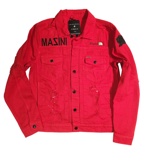 "Posh Denim Distressed Jacket ""Posh x Mazini x Dave East"" in Red"