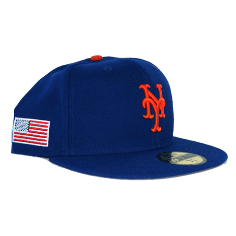New Era 59Fifty New York Mets USA Flag SidePatch Grey Bottom Fitted  In Royal