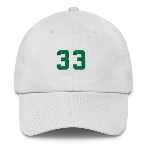 """Larry Legend"" 6 Panel Dad Cap in White"