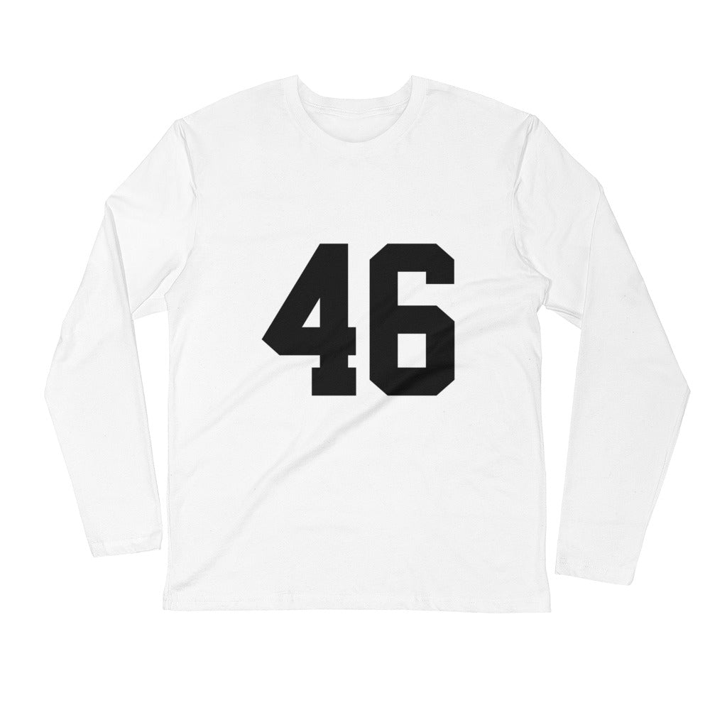 "Designer '46 ""GIANNI"" Long Sleeve Fitted T-Shirt in White"