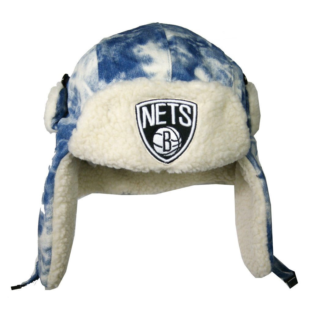 NBA Brooklyn Nets Acid Washed Denim Trapper Hat