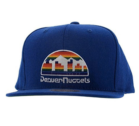 Mitchell & Ness Denver Nuggets Basic Logo Snap Back Hat in Blue
