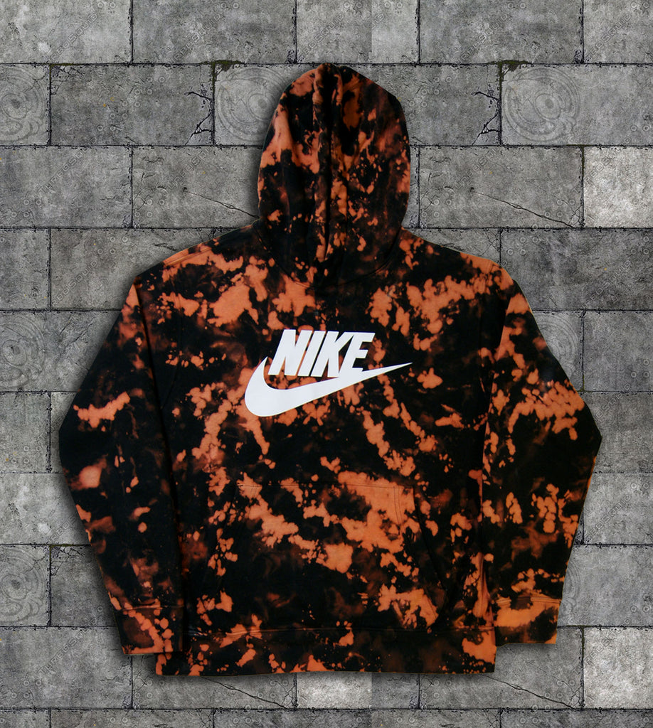Custom Nike Reverse Tie Dye Hoodies in Black / Orange