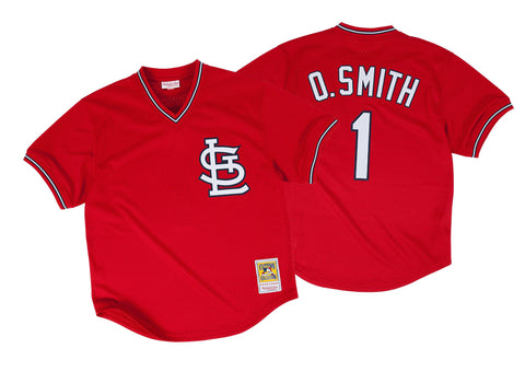 Ozzie Smith 1996 Authentic Mesh BP Jersey St. Louis Cardinals In Red
