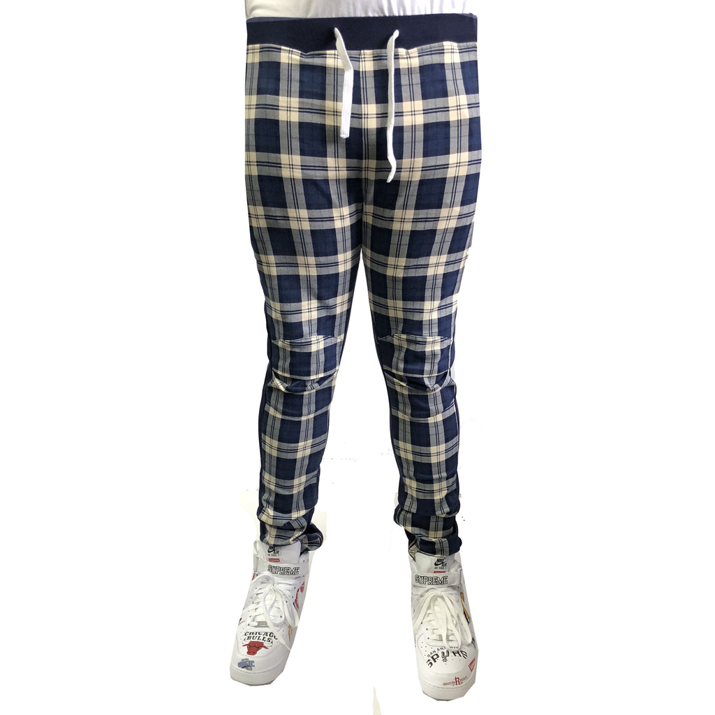 Plaid Trackpants in Blue