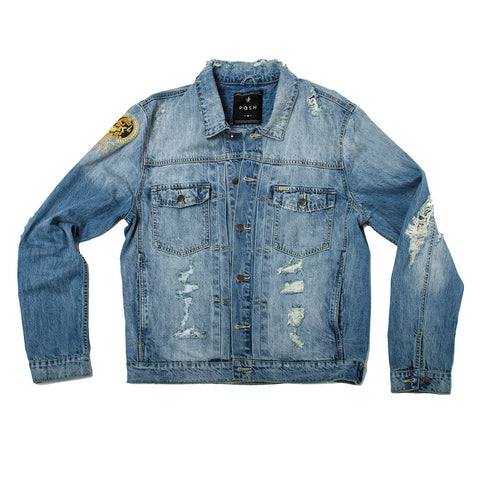 Posh Denim Distressed Jacket - Washed Blue