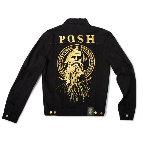 "Posh Denim Distressed Jacket ""Posh"" - Black"