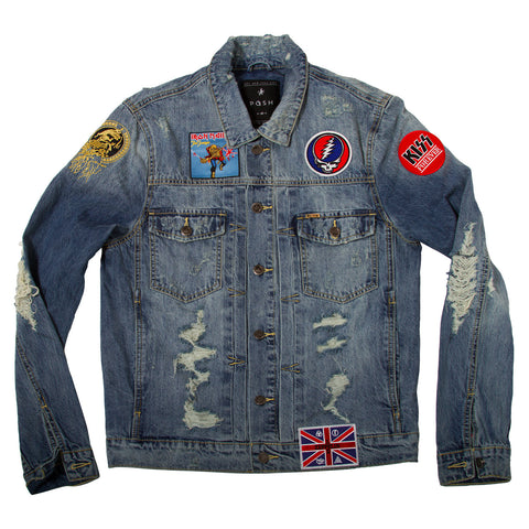 "Posh Denim Distressed Jacket ""Grateful Dead Skull"""