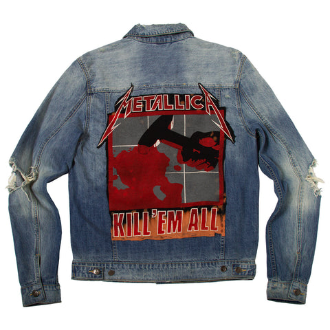 "Posh Denim Distressed Jacket ""Kill'em All"""
