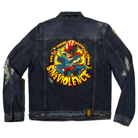 "Posh Denim Distressed Jacket ""Sin & Violence"""