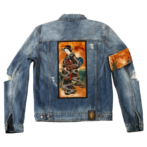 "Posh Denim Distressed Jacket ""Geisha"""
