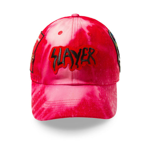 "Posh Dad Hat Acid Wash Rock Hard Series ""Killer"" Red"
