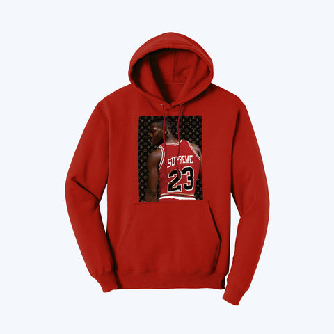 """Supreme Goat"" Pullover Fleece Hoodie in Red"