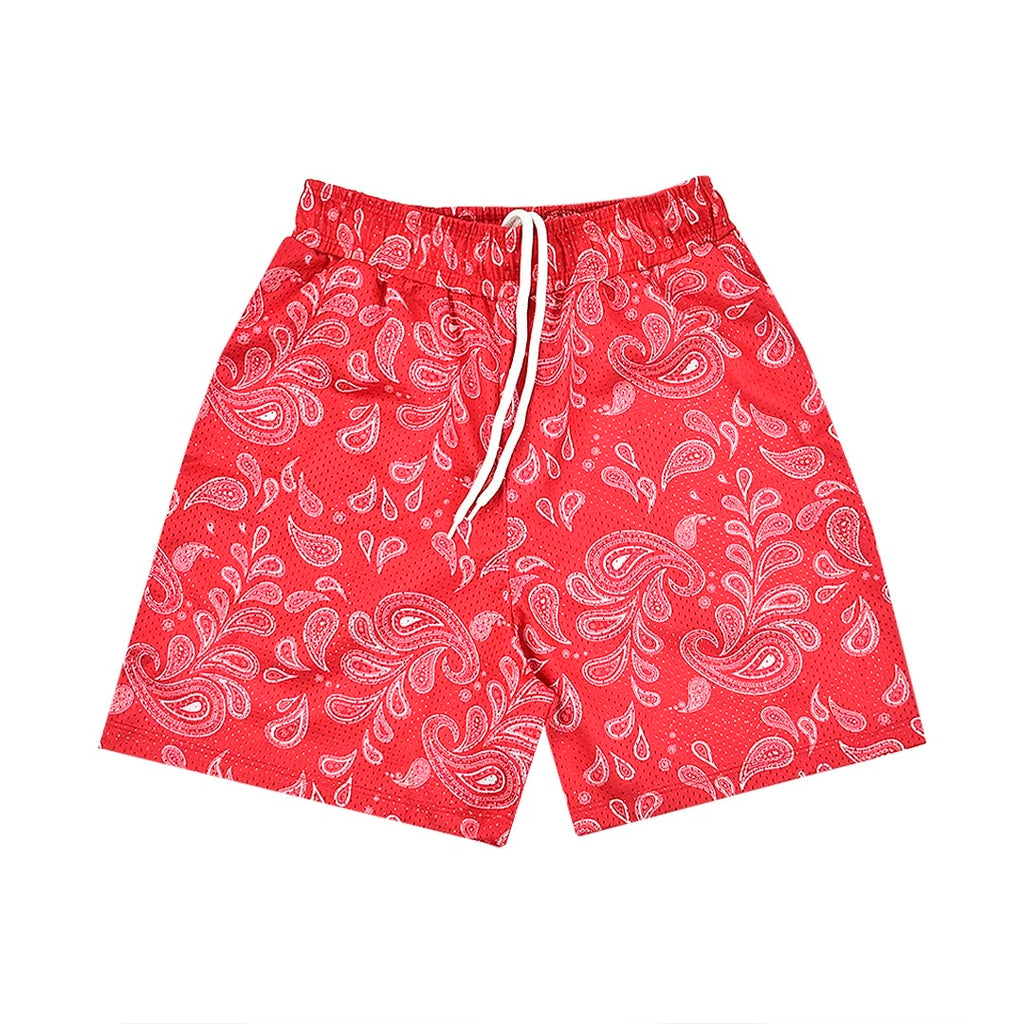 """PAISLEY"" Mesh Shorts in Carmine Red"