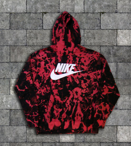 Custom Nike Reverse Tie Dye Hoodies in Black / Red