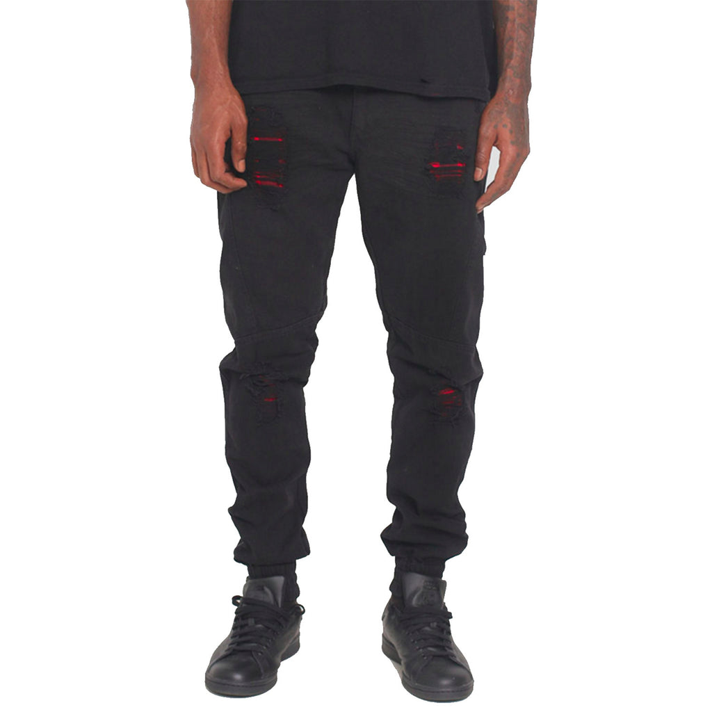 Repaired Distressed Denim Jogger Black