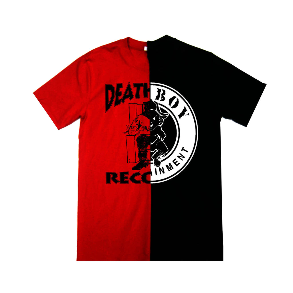 """Bad Boy Meets Death Row"" Split Tees in Red & Black"