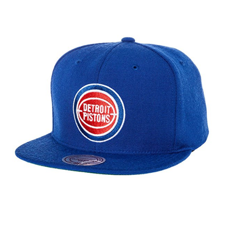 Mitchell & Ness Men's Detroit Pistons Wool Solid Snapback One Size Blue