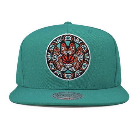 NBA Mitchell & Ness Vancouver Grizzlies Aztec Snapback Cap in Teal