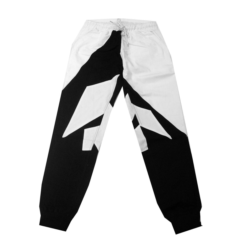 Black Geometry Jogger Drawstring Pants