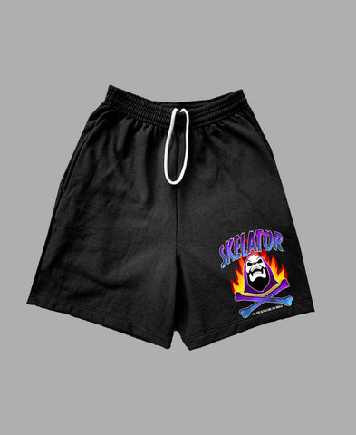 """Alpha & Omega"" Shorts in Black"