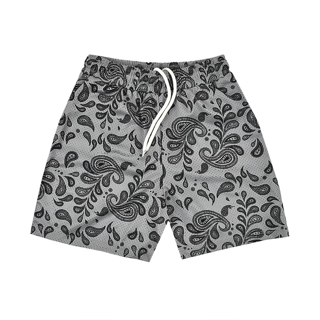 """PAISLEY"" Mesh Shorts in Neutral Grey"