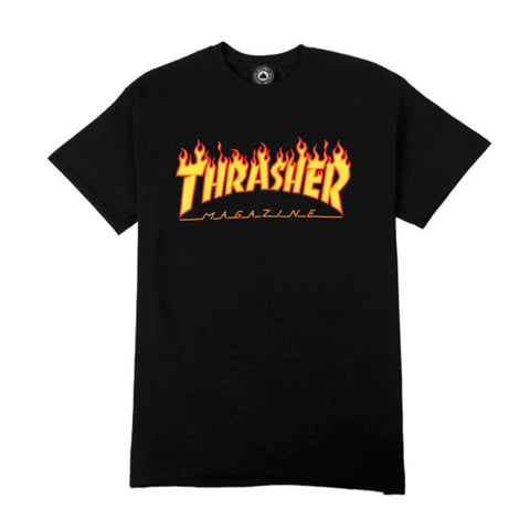 "Thrasher ""Flames"" S/S T-Shirt in Black"