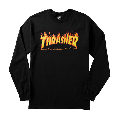 "Thrasher ""Flames"" L/S T-Shirt in Black"
