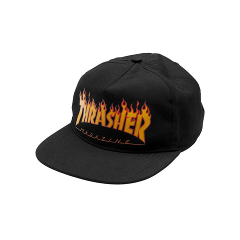 "Thrasher ""Flames"" Snapback in Black"