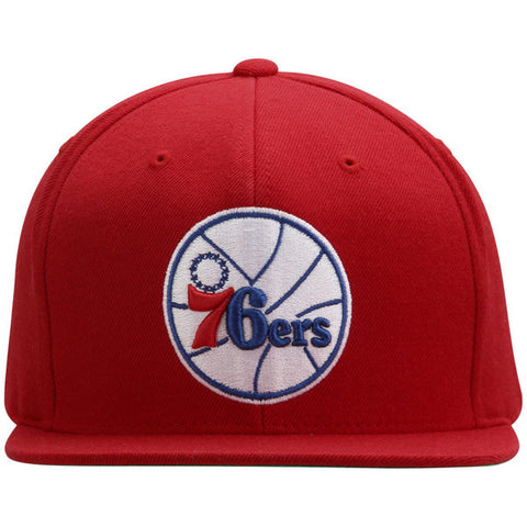 Philadelphia 76ers NBA Mitchell & Ness Team Logo Solid Wool Adjustable Snapback Hat (Red)