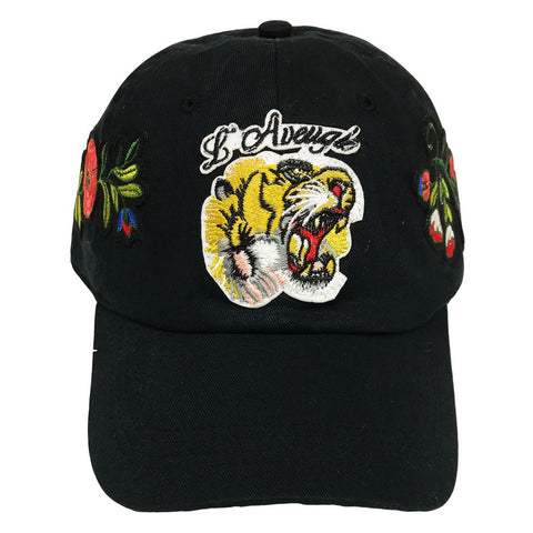 L'Avengle Tiger Rose Embroidered Dad Hat