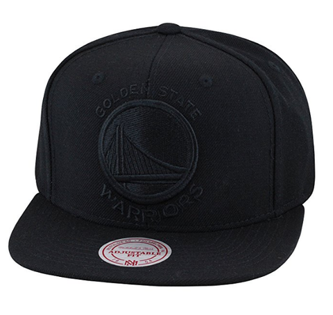 Mitchell & Ness Golden State Warriors Snapback Hat Cap All Black / Black