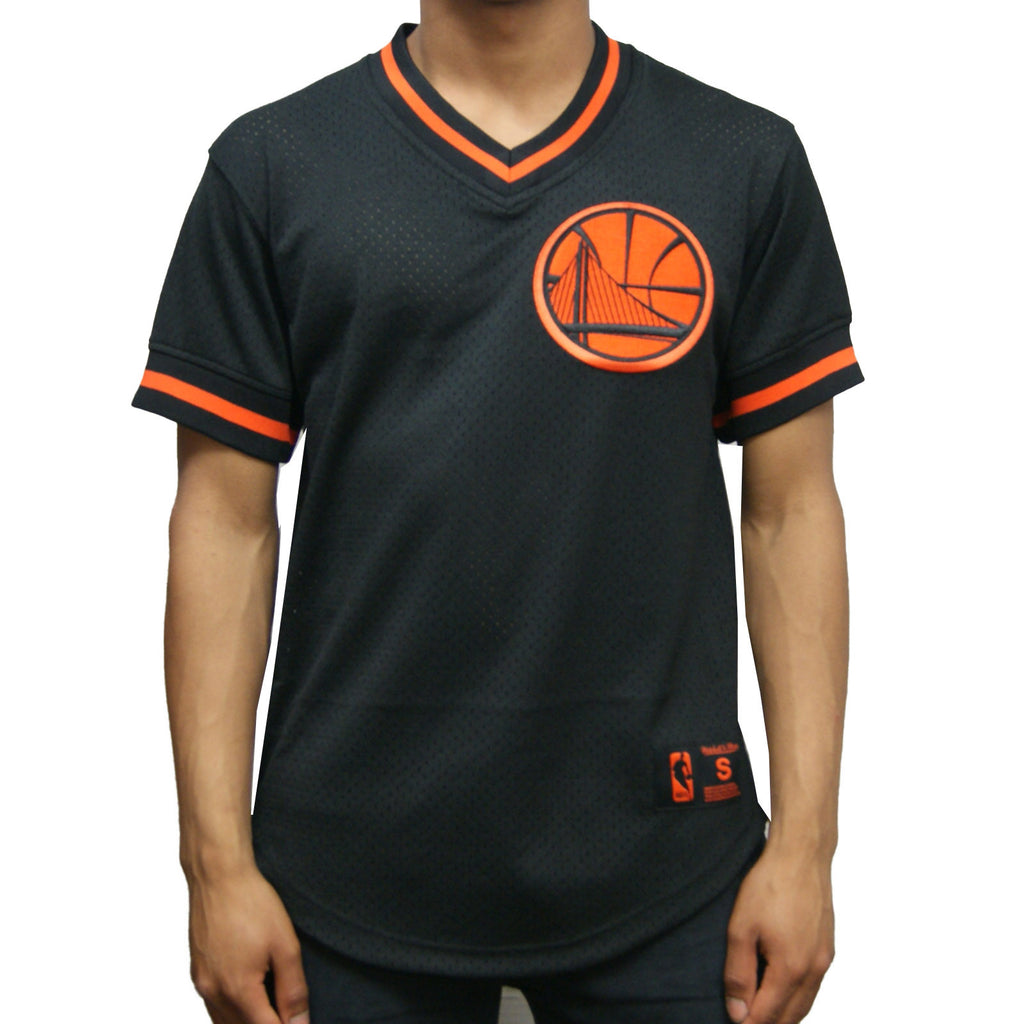 Mitchell & Ness Golden State Warriors Pullover Jersey In Black/Orange