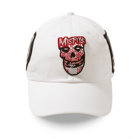 "Posh Dad Hat Rock Hard Series ""Skull"" White"