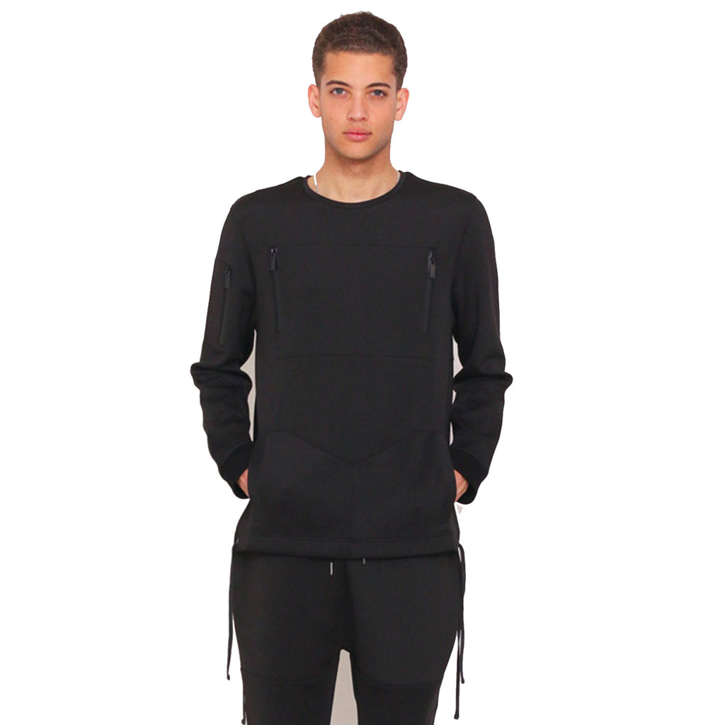 Zealot Tech Fleece Crewneck In Black