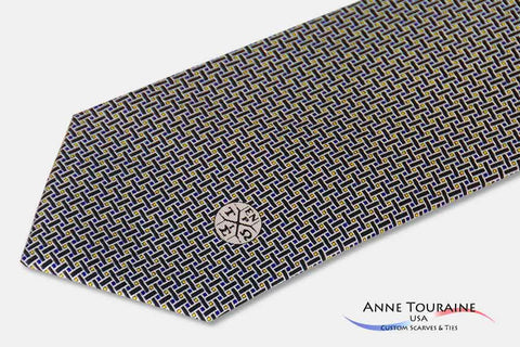 Custom made printed ties with thin lines and thin motifs