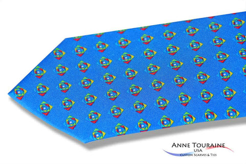 Custom made printed ties with bright and vivid colors