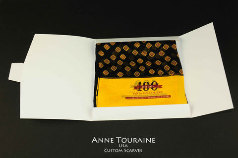 Santa Ana College custom silk scarf celebrating their 100th Anniversary and delivered in a customized scarf envelope