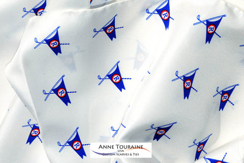 Custom logo scarves and logo ties for Clubs, Organizations and Corporations: Consult ANNE TOURAINE Custom Scarves & Ties
