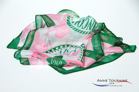Sorority custom scarves for Epsilon Nu by ANNE TOURAINE Inc. Custom Scarves and Ties